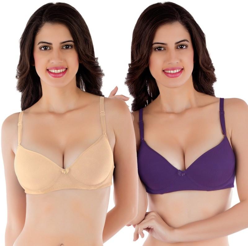 Tweens by Belle Lingeries Womens Push-up Lightly Padded Bra(Beige, Purple)