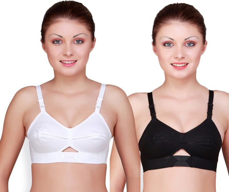 Floret Womens Full Coverage Bra(White, Black, White)