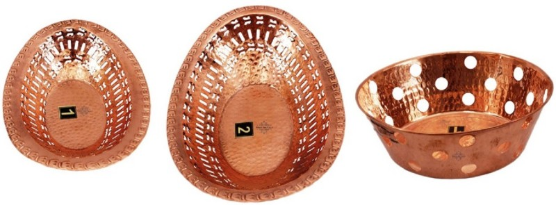 Indian art villa Copper Bread Basket(Brown)