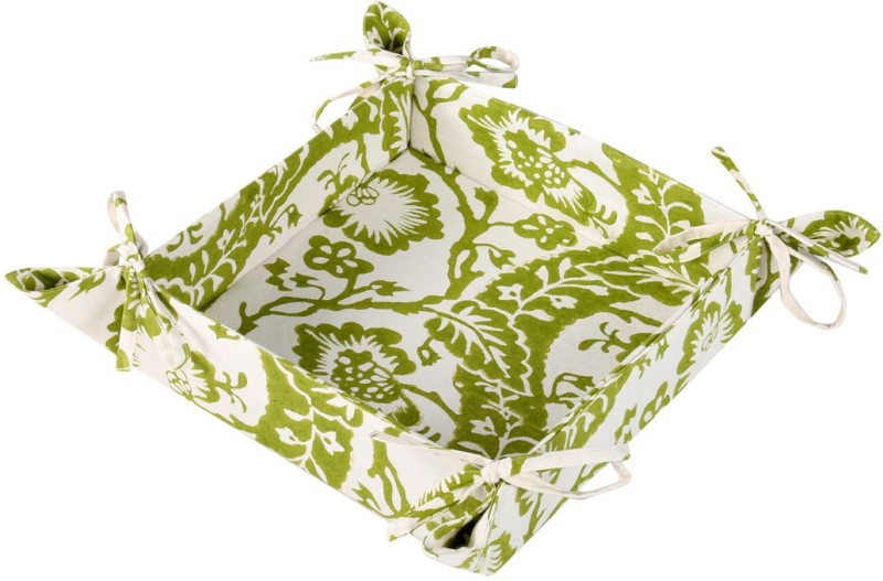 Rajrang Cotton Bread Basket(White, Green)