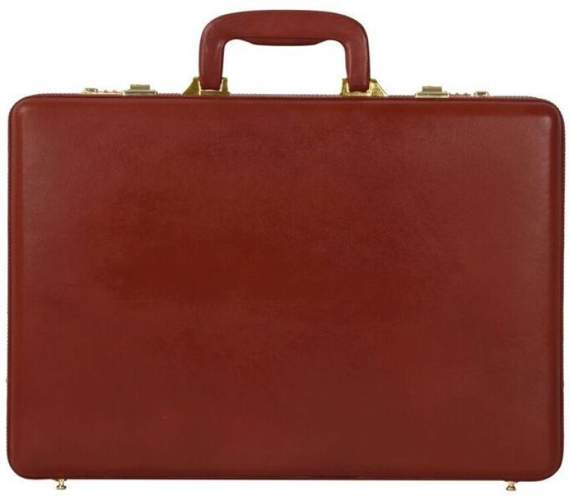 Rambler All Side Round Expandable Leather Medium Briefcase - For Men(Red)