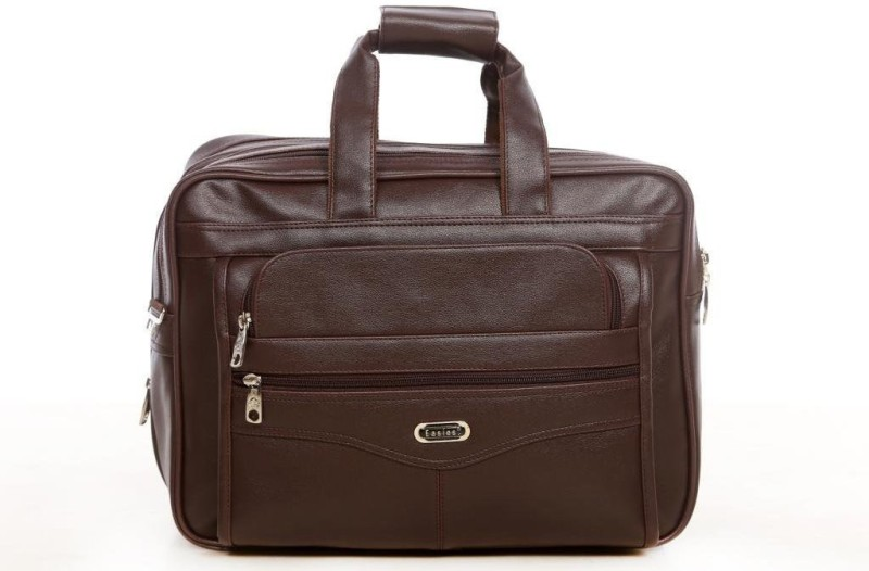 Easies Synthetic Leather Full Expandable 16 Inches Executive Brown Color Office Bag Large Briefcase - For Men(Brown)
