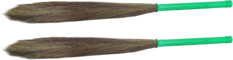 Hari Ram Gulab Rai Wooden Dry Broom(Green, Pack of 2)