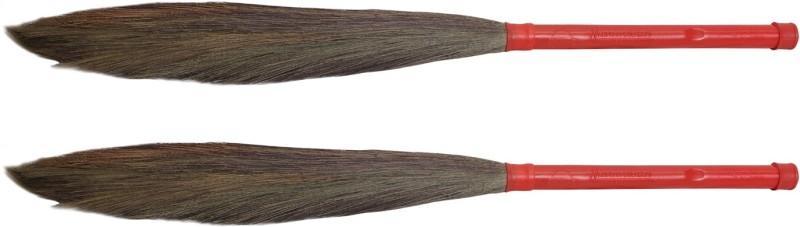 Hari Ram Gulab Rai Wooden Dry Broom(Red, Pack of 2)