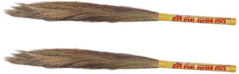 Hari Ram Gulab Rai Wooden Dry Broom(Yellow, Pack of 2)