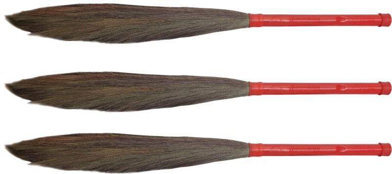 Hari Ram Gulab Rai Wooden Dry Broom(Red, Pack of 3)