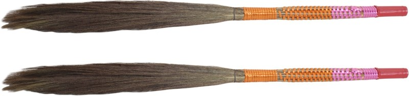 Hari Ram Gulab Rai Wooden Dry Broom(Multicolor, Pack of 2)