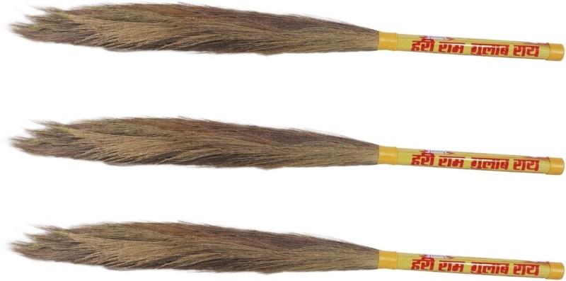 Hari Ram Gulab Rai Wooden Dry Broom(Yellow, Pack of 3)