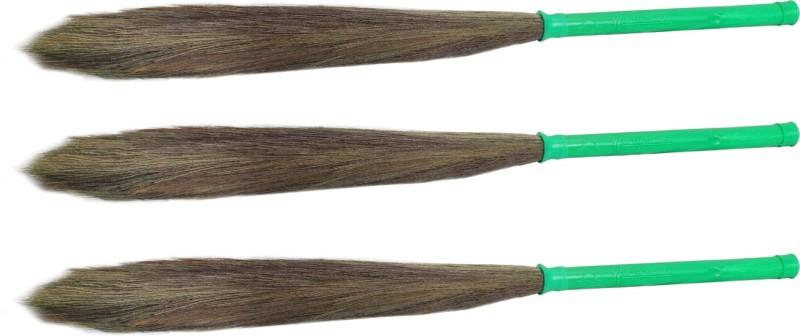 Hari Ram Gulab Rai Wooden Dry Broom(Green, Pack of 3)