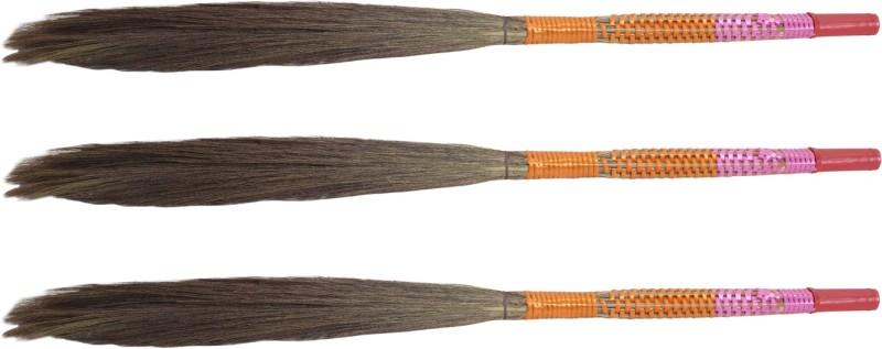 Hari Ram Gulab Rai Wooden Dry Broom(Multicolor, Pack of 3)