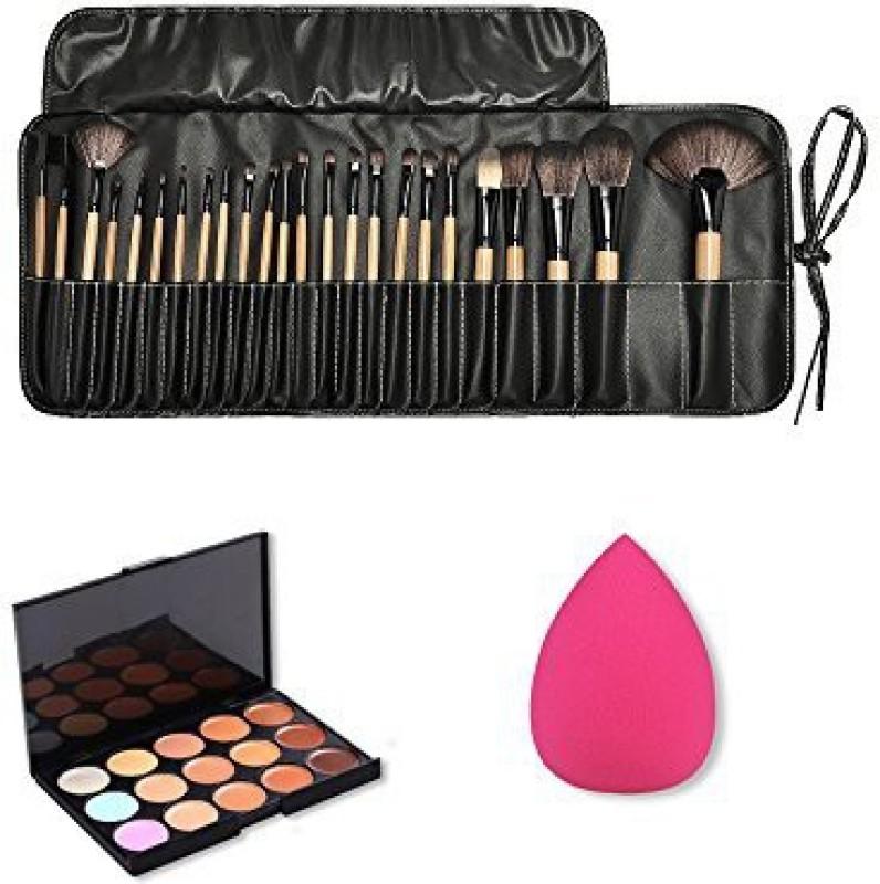 Jmkcoz Wooden Makeup Brush Kit Plus 15 Colors Camouflage Concealer Palette and 1pc Water Drop Makeup Sponge Makeup Kit(Pack of 24)