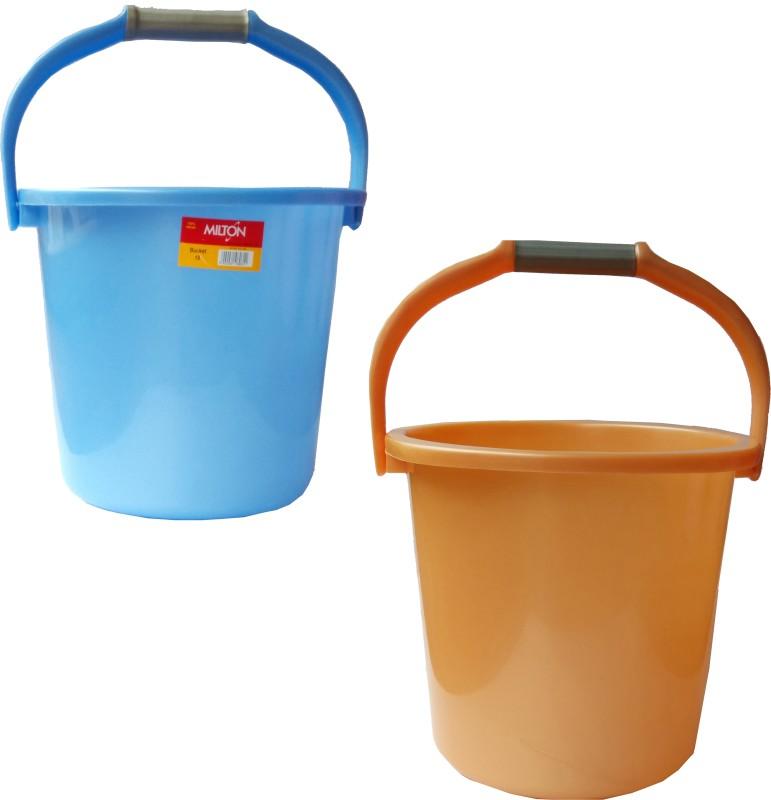 Milton New 18 L Plastic Bucket(Blue, Orange)