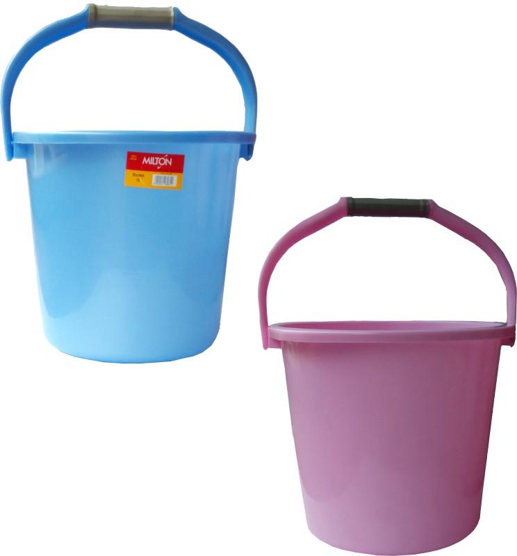 Milton New 18 L Plastic Bucket(Blue, Pink)