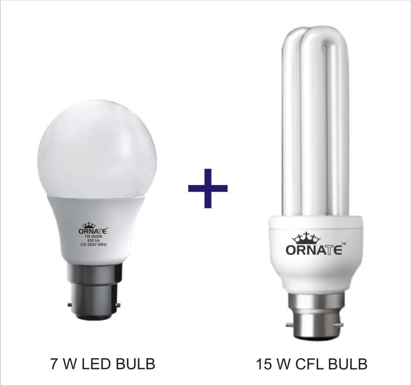 Oranate 7 W, 15 W Standard B22 CFL Bulb(White, Pack of 2)