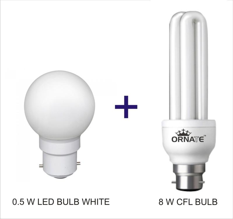 Oranate 0.5 W, 8 W Standard B22 CFL Bulb(White, White, Pack of 2)