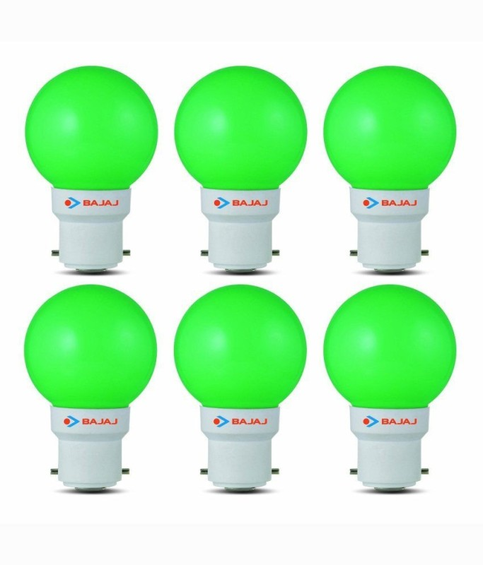 Bajaj 0.5 W Standard B22 LED Bulb(Green, Pack of 6)