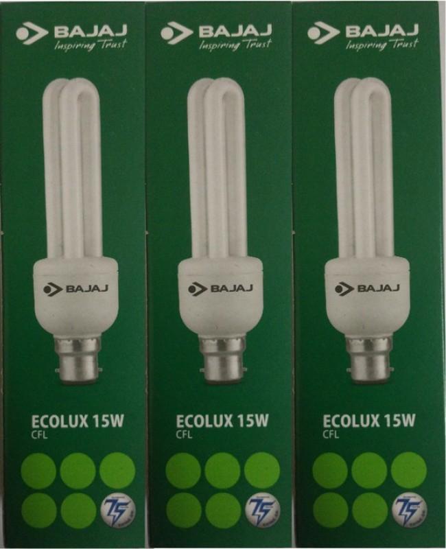 Bajaj 15 W Standard B22 CFL Bulb(White, Pack of 3)