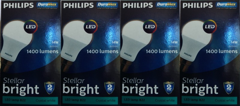 Philips 14 W Globe B22 LED Bulb(White, Pack of 4)