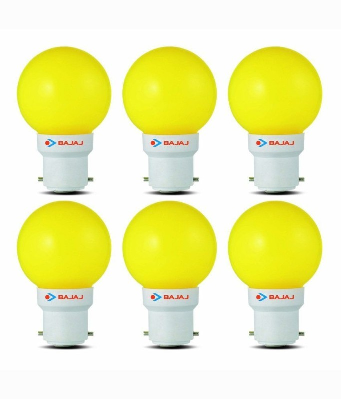 Bajaj 0.5 W Standard B22 LED Bulb(Yellow, Pack of 6)