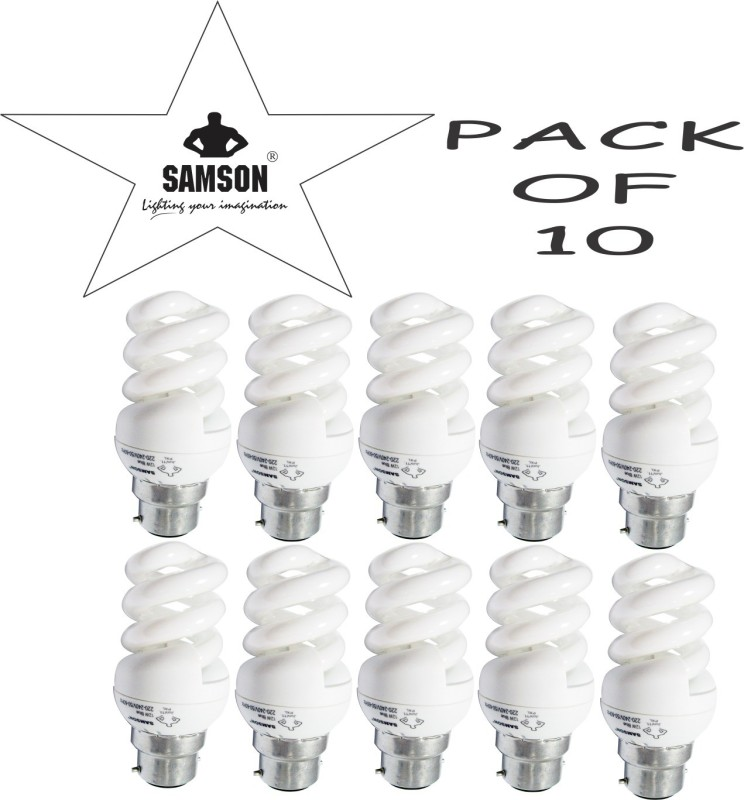 Samson 12 W Spiral B22 CFL Bulb(Yellow, Pack of 10)