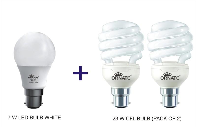 Oranate 7 W, 23 W Standard B22 CFL Bulb(White, Pack of 3)