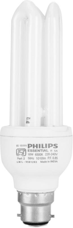 Philips 18 W Standard B22 CFL Bulb(White)