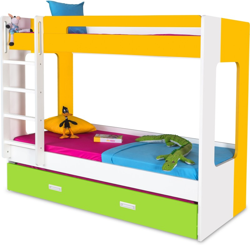Alex Daisy Manhattan Engineered Wood Bunk Bed(Finish Color - Yellow-Green-White)
