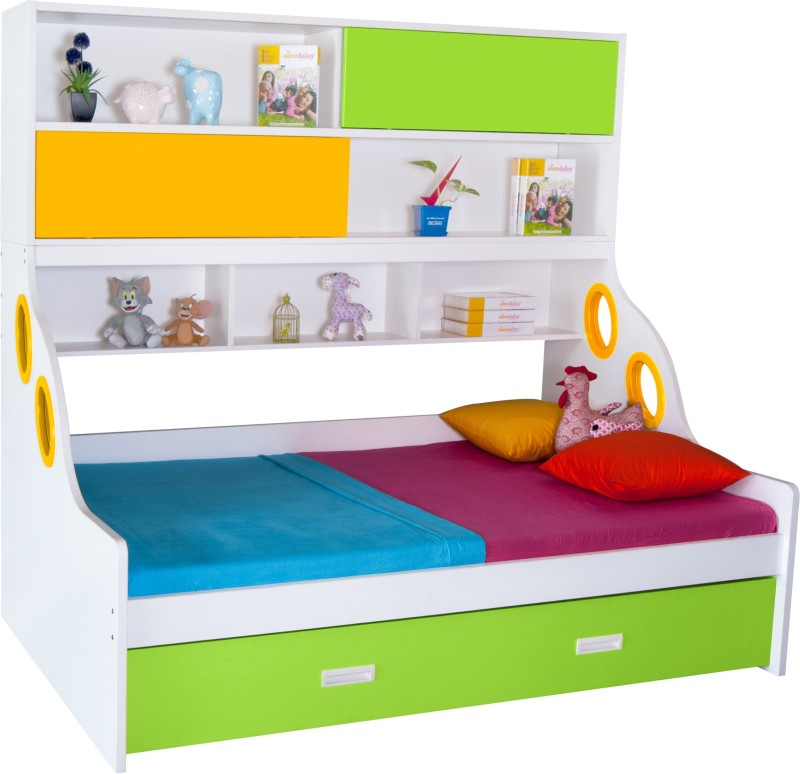 Alex Daisy Hybrid Engineered Wood Bunk Bed(Finish Color - White, Yellow & Green)