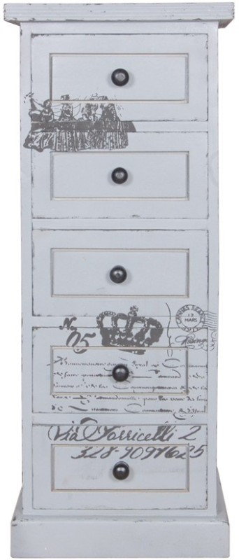 The Attic Solid Wood Free Standing Chest of Drawers(Finish Color - Grey)