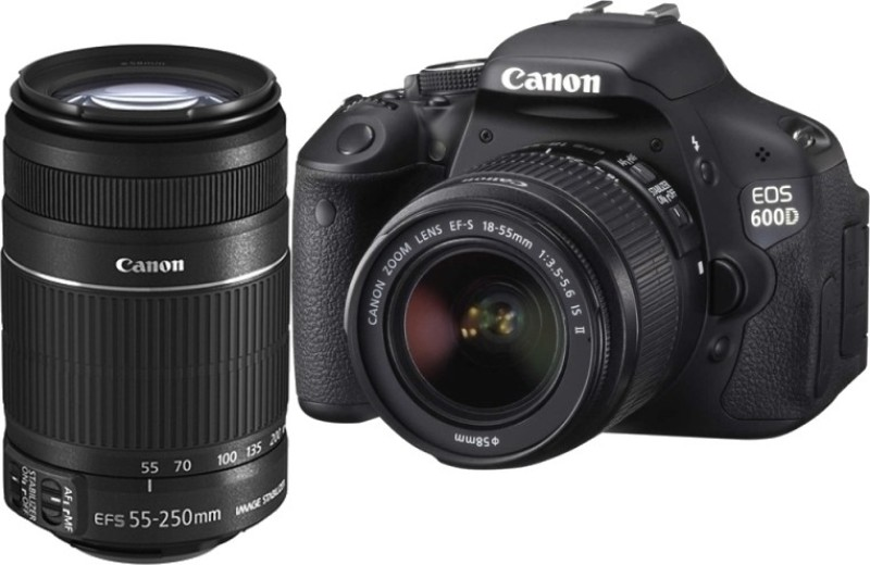 Canon EOS 600D (Body with EF-S 18-55 mm IS II & EF-S 55-250 mm IS II Lenses) DSLR Camera(Black)