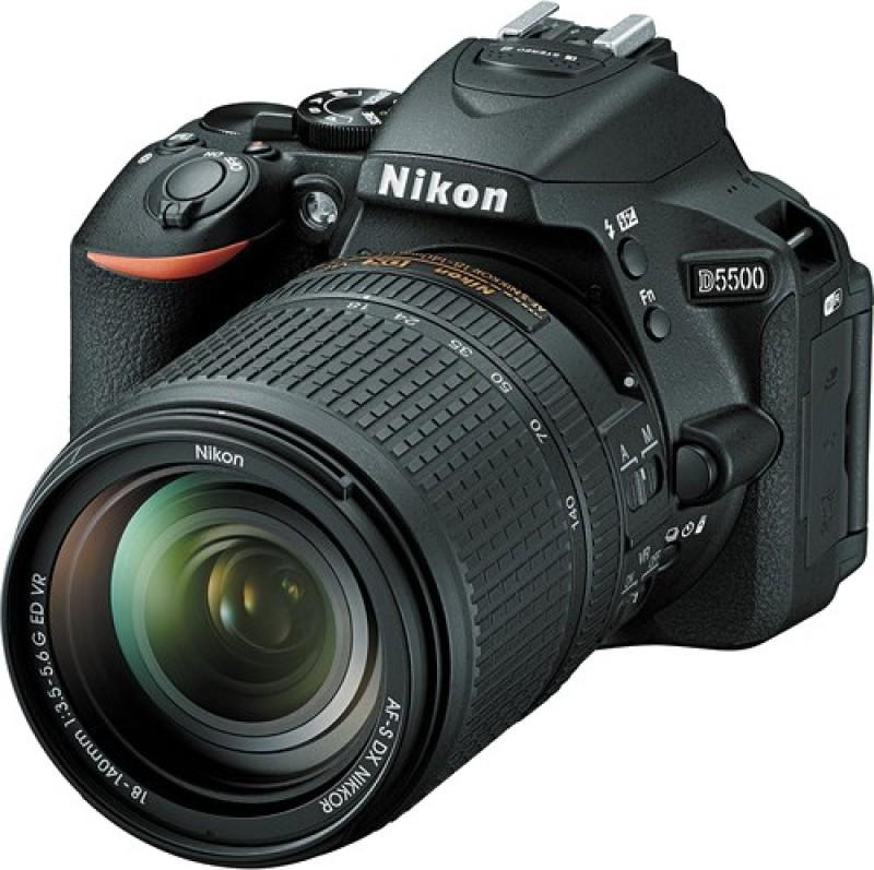 Nikon D5500 DSLR Camera Body with Single Lens: AF-S 18-140mm VR Kit Lens (16 GB SD Card + Camera Bag)(Black) image