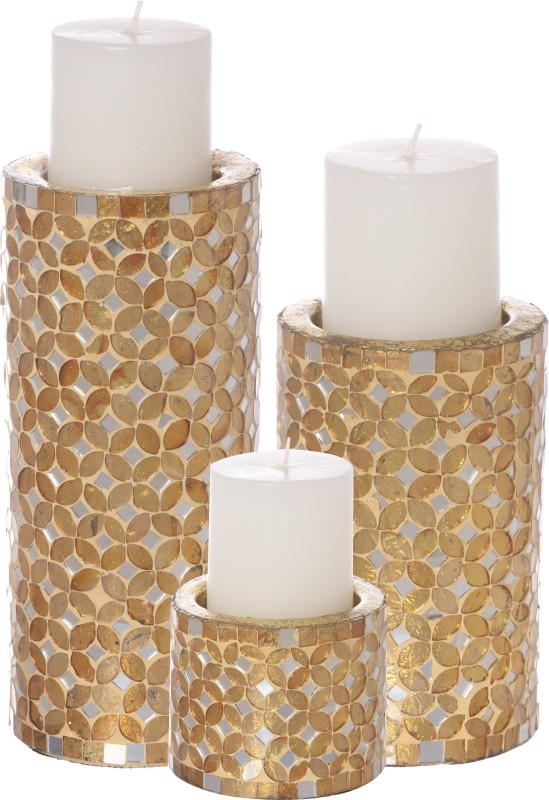 Aadyan Creations Aluminium 3 - Cup Candle Holder(Gold, Pack of 3)