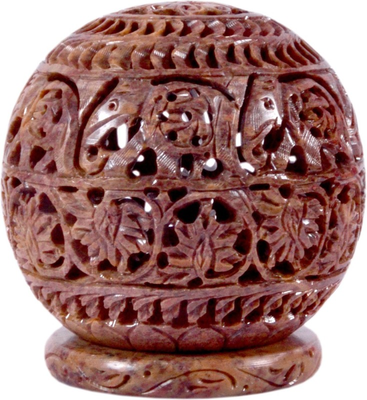 Avinash Handicrafts Soap Stone Carved Candle Lamp Ball shape 4.5