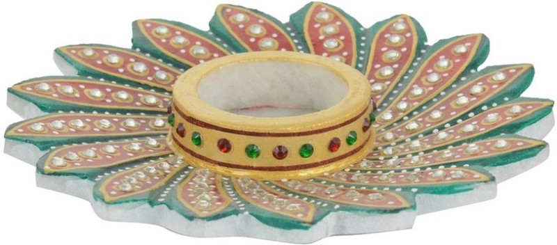 Madhuraj Flower Design Multicolour Stoneware Candle Holder(Multicolor, Pack of 1)
