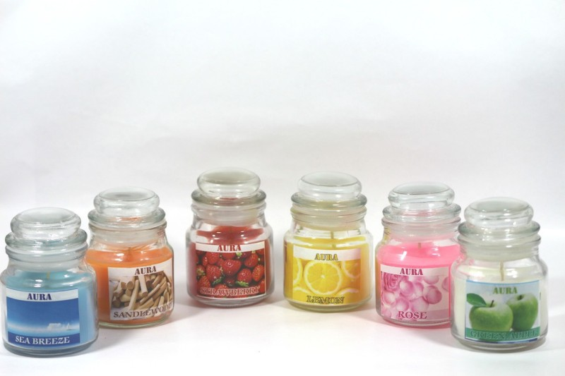 AuraCandles Set of 6 Highly Scented Jar Candle Candle(Multicolor, Pack of 6)