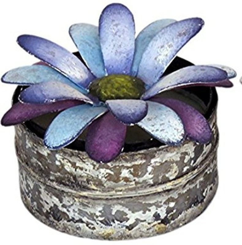 """Bali Mantra Click to open expanded view BALI MANTRA PURPLE GERBERA LID NATURAL SOY WAX CANDLE WITH DISTRESSED TIN (PURPLE + WHITE 3.75"""" W x 2.5 H"""") SCENT : FRENCH VANILLA Candle(Purple, Pack of 1)"""