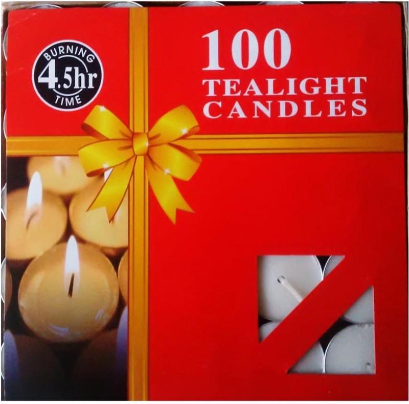 Rasmy Candles White Tea Light 100 Pcs 4.5hr Burning Candle(White, Pack of...