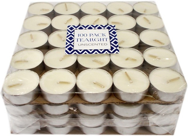 Ekam Unscented 100 Pack Tealight Candle(White, Pack of 100)