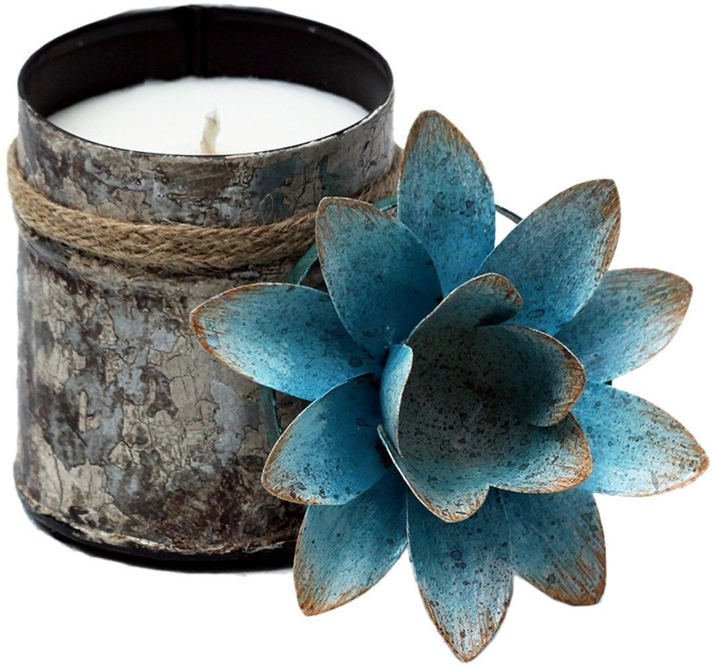 """Bali Mantra BALI MANTRA BLUE LOTUS LID (BLUE + WHITE 4"""" W x 5.5"""" H) FRAGRANCE: GINGER PATCHOULI, Candle(White, Blue, Pack of 1)"""