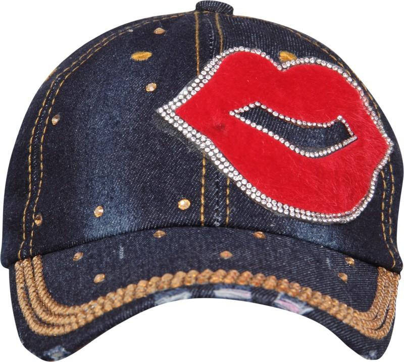 FabSeasons Studded Washed Denim Jeans Cap Cap