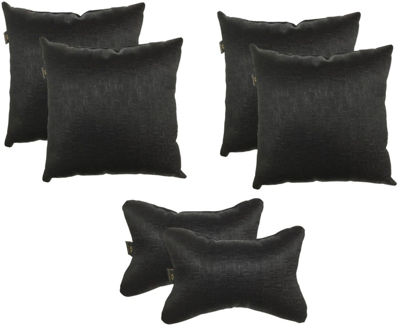 Lushomes Black Polyester Car Pillow Cushion for Universal For Car(Square, Pack of 6)