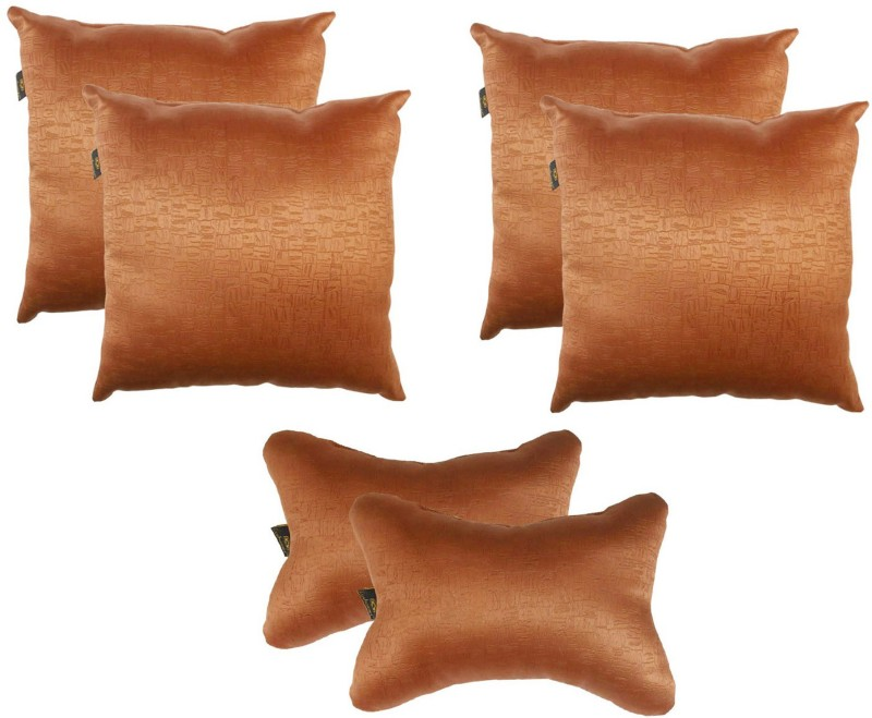 Lushomes Brown Polyester Car Pillow Cushion for Universal For Car(Square, Pack of 6)