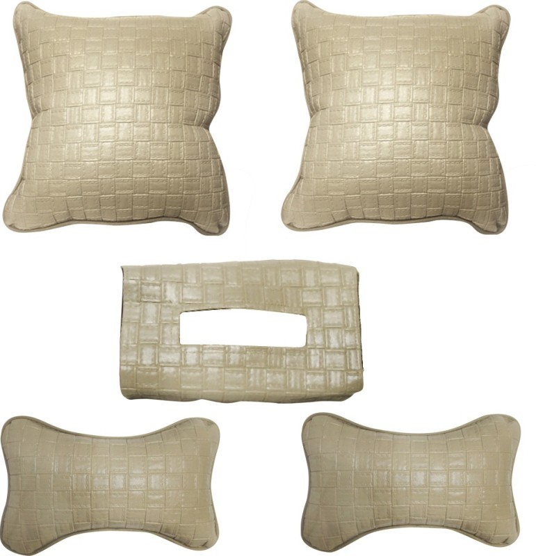 Vheelocityin Beige Leatherite Car Pillow Cushion for Nissan(Rectangular)
