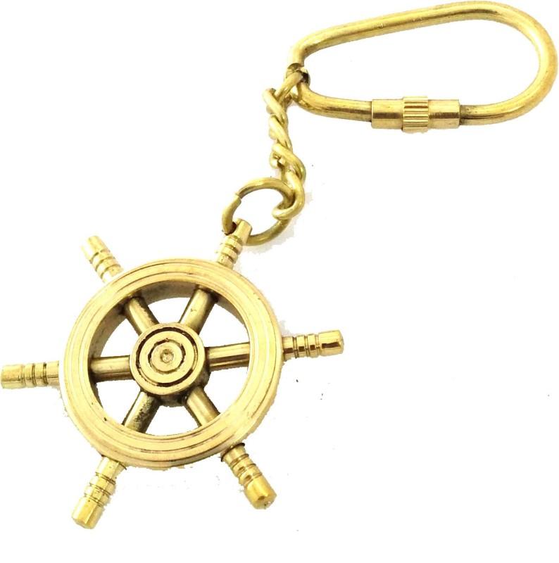 Artshai Ship Wheel Locking Key Chain(Gold)