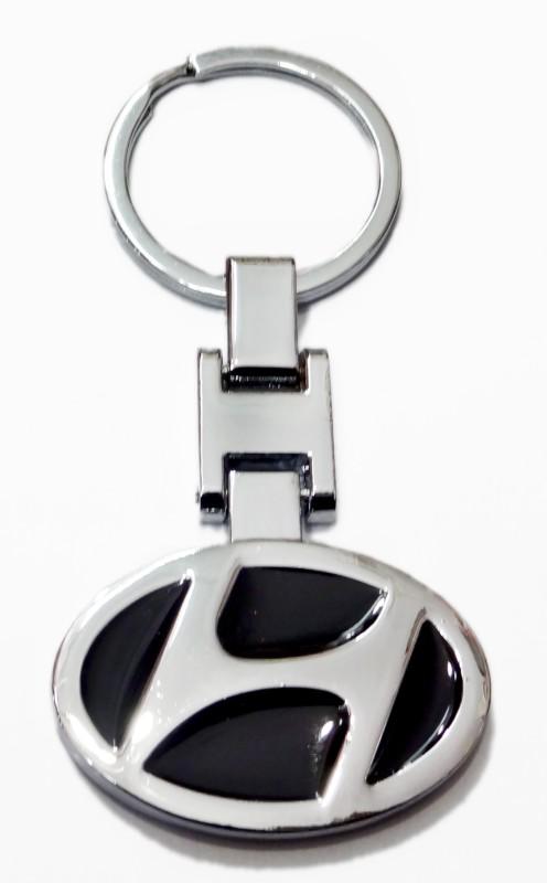 Aditya Traders ATTRACTIVE FULL METAL 'HYUNDAI' CAR LOGO KEYCHAIN Key Chain(Black)