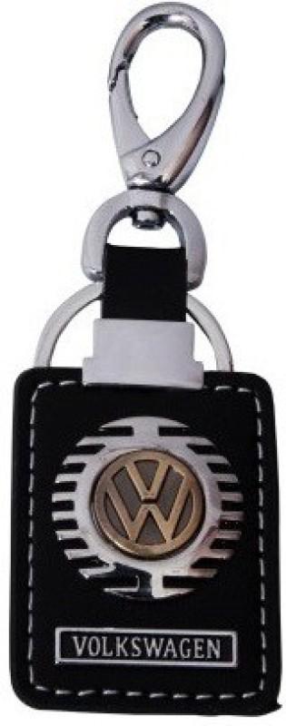 Aditya Traders GLOSSY LOOK VOLKSWAGEN ORIGINAL LEATHER WITH CAR Locking Key Chain(Black)