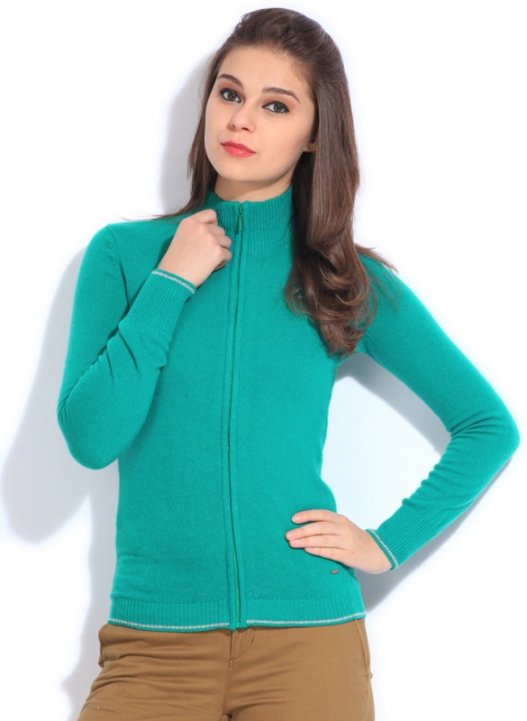 United Colors of Benetton. Womens Zipper Solid Cardigan