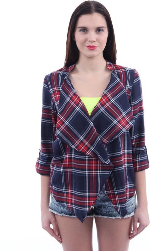 Vero Moda Womens No Closure Checkered Cardigan