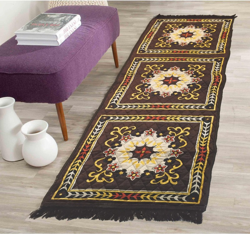 AAZEEM Brown Polyester Carpet(55 cm X 175 cm)
