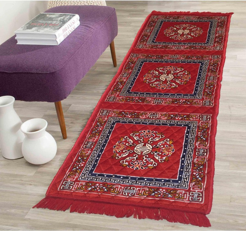 AAZEEM Red Polyester Carpet(55 cm X 175 cm)